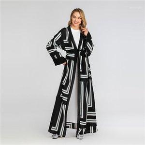 Осень дизайнер Сыпучих дамы пальто мода Pannelled Женские Длинные куртки с Поясом Женщины Digital печатного Open Стежки Spring