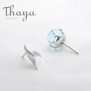 Thaya Mermaid Bluz Çiviler Küpe S925 Gümüş Kristal Yosun Yastıklar Fishtail Küpe Kadınlar Takı Için Kadın Y19070902