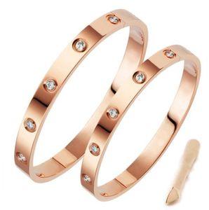 Klasik lüks tasarımcı takı kadınlar kristal erkek altın bilezik paslanmaz çelik 18k aşık bilezik vida bilezik bracciali ile bilezik