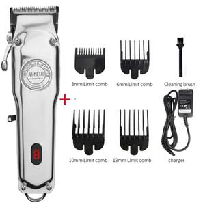 Profesyonel elektrikli saç düzeltici erkek telsiz kesici makine saç kesim sihirli şarj edilebilir makası Tüm metal berber saç