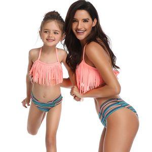 Chegada Nova pai-filho Swimsuit borlas sexy do biquini do terno de natação Três Pontos Explosivo Dividir roupas de banho para senhoras Crianças