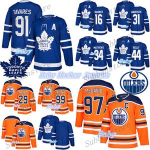 2019-2020 Bebek Jersey Toronto Maple Leafs Edmonton Oilmers 97Connor McDavid 16Mitchell Marner 91 John Tavares Çocuklar Bebek Hokey Formaları