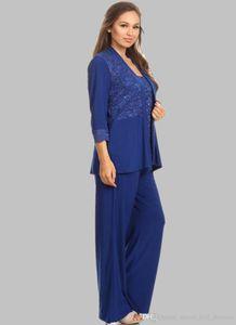 Mother Of The Bride Dresses Royal Blue Suits Applique Sequins Vests Pants Jackets Mother's Dresses Evening Wedding Party Prom Gowns DH5111