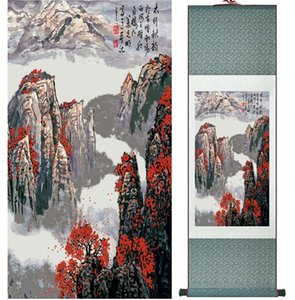 Landschaftsmalerei Home Office Dekoration Chinese Scroll Painting Berg- und Flussmalereiprinted Painting042302