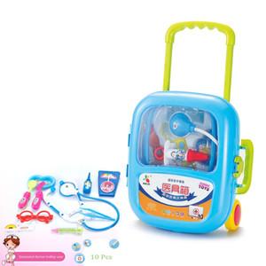 Yeni doktor simülasyon doktor arabası çantası, şırınga stetoskop tıbbi malzeme bavul seti oyuncak.
