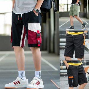 US STOCK Patchwork Estate Beach Holiday Mens pantaloni di scarsità Pantaloni Moda Outdoor Sport Uomo sportivo Tuta con tasche FY9110 allentato