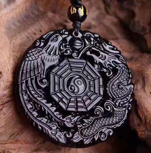 Natural Obsidian Dragon et Phoenix Marque Pendentif Dragon et Phoenix Chengxiang hommes et femmes Gossip gros collier
