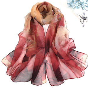 S1240 Hot Summer Women Slik Scarf Sun-screen Georgette Colorful Shawl Wraps Florals Scarf Thin Beach Scarves
