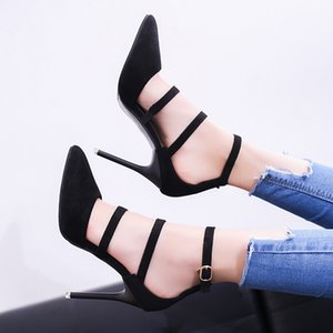 Free2019 High-heeled Sharp Fine With Shallow Mouth One Buckle Bring Women's Shoes Down Noodles Foot Ring Bandage Single