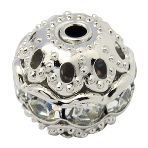 100 Pcs Flor Cap Solta Contas de Cristal De Strass Contas de Cristal Rhinestone Charme Rodada Spacer Beads para Mulher Pulseira Fazer Jóias
