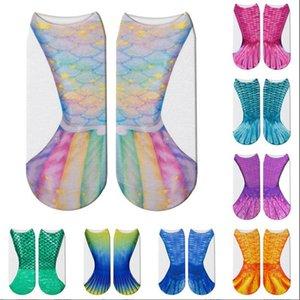 Mermaid 3D Socken Mermaid Schwanz Strand Socken Mermaid Fashion Socken Harajuku Digital gedruckte Cosplay Fischschuppen Socken lustige Stiefel Strumpfwaren B4578
