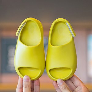 Summer Children Girls Boys Soild Beach Slipper Sandals For Kids Boys Girls Water Shoe EVA Hook & Loop Strip Outdoor Baby Sandals