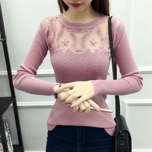 WWENN Mulheres Camisola Pullovers Moda Casual Manga Comprida O Pescoço Torção De Malha Sweter Casacos Femininos Lace Diamante Cashmere