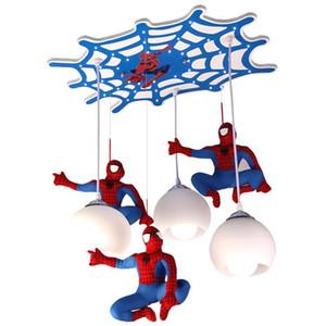 Moderna Spiderman soffitto protezione della lampada degli occhi del soffitto della stanza di bambini LED Pendant Light attaccatura del salone luce apparecchio di illuminazione della lampada