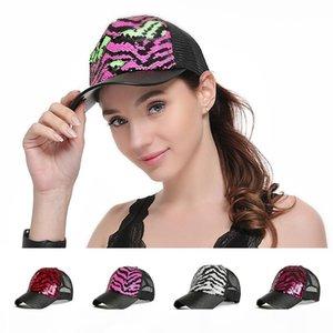 Women Trucker Hat Mesh Zebra Pattern Baseball Snapback Sequined Cap Adjustable Flat Plain Blank Hip Hop Visors