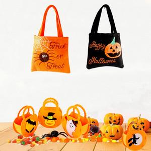 Halloween citrouille cadeau stockage Sacs Trick Sac Sac mignon de bonbons ou un sort enfants sac à main pochette sac fourre-tout non tissé LJJA3137