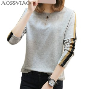 AOSSVIAO plus size t shirt women t-shirts loose 2020 new fashion o-neck long sleeve t shirt women tops tee shirt femme Grey Khak T200107