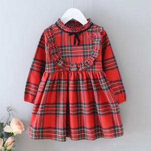 Meninas Mini A-Line vestido xadrez arco laço Ruffle Vestidos crianças roupas menina vestido plissado 07
