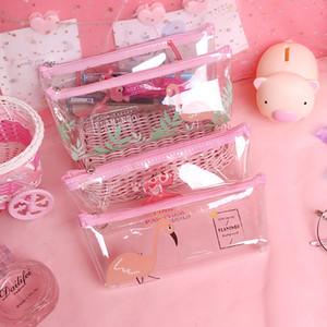 sac à crayons clair papeterie coréenne Kawaii Flamingo Pencil Case cute Transparent pour les filles pochette bureau école fournitures Escolar