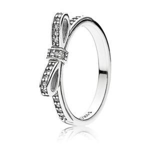 سيدة 925 الاسترليني الفضة التألق القوس الدائري مجموعة مربع الأصلي لعموم الحبوب النساء الزفاف تشيكوسلوفاكيا الماس bowknot 18k روز الذهب الدائري W156