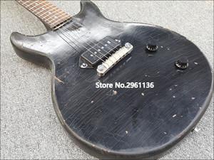 Двойной Вырез Ручной Работы Heavy Relic Black Junior Electric Guitar Black P 90 Single Pickup, One Piece Bridge Tailpiece, Хромированная Фурнитура