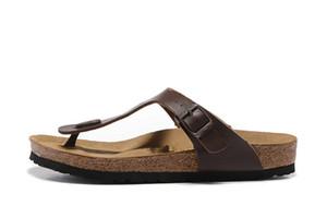 Sandálias Flat Mulheres sapatos casuais masculino Buckle praia do verão chinelos de couro genuíno Hot venda- novos homens Arizona famosa marca dos falhanços Matt