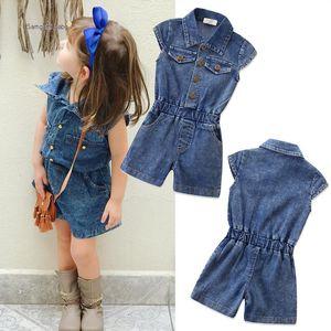 Новый дизайн летняя мода комбинезон новорожденных с коротким рукавом джинсовые младенцы цельный одежда малыш дети младенческая девочка