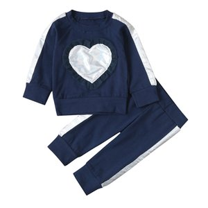 Toddler Baby Girls 2pcs Clothes Pink Valentine's Day Heart Ruffle Pullover Sweatshirt Top+pant Newborn Sport Clothes Tracksuit