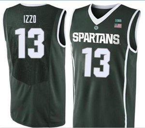 Özel Erkekler Michigan State Spartans Steven Izzo # 13 Yeşil Tam nakış basketbol forması Boyut veya özel herhangi bir ad veya numara formayı-6XL S