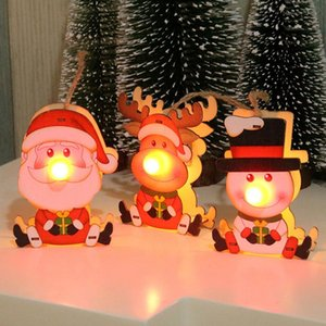 GloryStar Christmas Decor Wooden Xmas Pendants DIY Wood Crafts Ornament LED Light Luminous Lamp