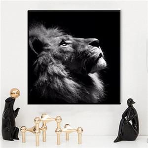 Siyah Beyaz Kanvas Oturma Odası Duvar Dekor 191.006 İçin Modern Duvar Dekor Lion Hayvan Tuval Resimleri Yağlıboya Resim Boyama