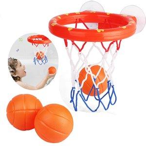 Безопасный Оригинал Дети Смешной Ванна игрушки Пластиковые ванны съемки игры Toy Set Баскетбол всасывает Чашки Mini с обручем Balls детей