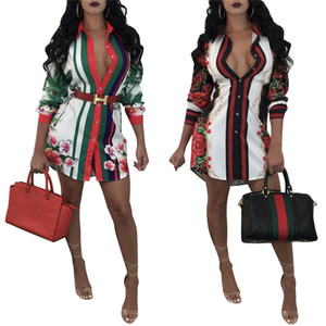 Estilo Mulheres Hot Designer Vestido moda lapela Neck Floral imprimiram a camisa Vestidos de Luxo Mulheres deisgner Clothes