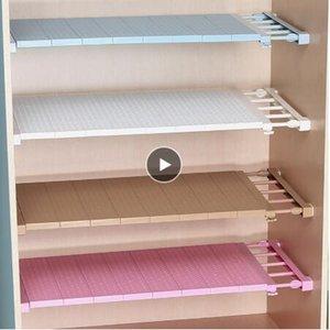 Ajustable del organizador del armario de almacenamiento estante montado en la pared de la cocina Estante Estantes ahorro de espacio Armario decorativos titulares del gabinete