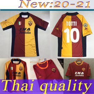 Retro Roma Soccer Jersey 00 01 Totti Batistuta Candela Montella Camisa Classic Comemorate Collection Vintage Roma Maglia da Calcio Close-Fit