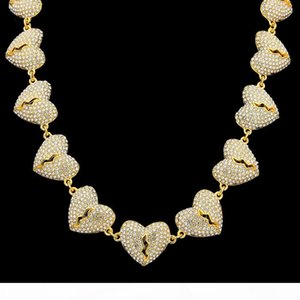 Hip Hop Iced Out heart chain Pendant Custom Charm Necklace Jewelry for Men Gold Silver Colors 18 20 inches