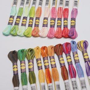 Set başına 10 Renk Alacalı 6 iplikçik Renk Değişimi başına 8 metre Pamuk Nakış Overdyed Cross Thread