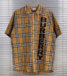 İlkbahar / Yaz 2020 son tarzı İngiliz yeni moda mektup kafes baskı erkekler tasarımcı yüksek kaliteli lüks Londra erkek kahverengi gömlek