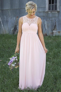 New Sheer Crew Lace Neck Cheap Chiffon Pale Pink Bridesmaid Dresses Illusion Back Country Style Maternity Long Maid Of Honor Dresses