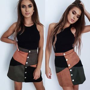 2019 mujeres de la manera señoras de la alta cintura del ante Faldas solo pecho remiendo de la rodilla-longitud A-Line Faldas