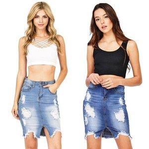 New hot European and American fashion personality pierced hole tassel high waist slim sexy female denim skirt