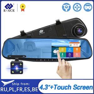 Дешевые DVR / Даш камеры E-ACE Автомобильный видеорегистратор тире Cam 4,3-дюймовый сенсорный FHD 1080P зеркало заднего вида Видеорегистратор с двумя объективами Авто Registrator С