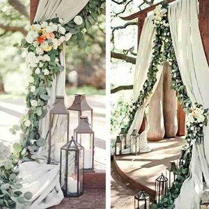 2m Decoration Artificial Rattan Artificial Eucalyptus Silk Flower Vine Hanging Wreath Green Plant Wedding Party Decoration