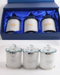 botellas de cristal stoage con tarros de té de azúcar de café cubierta de cristal de espejo tapa 3pcs en un conjunto con la caja de regalo de color azul