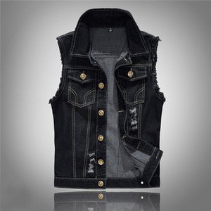 Mens Fashion Lapel Neck Jacket Vest Single Breasted Hole Solid Color Male Fashion Slim Vest S-6XL