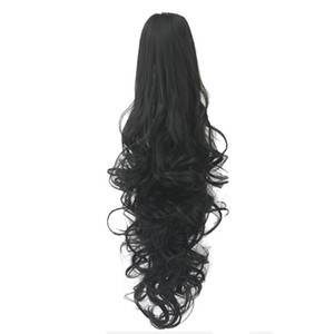 Fashion Long Wavy Cosplay Wigs Curls Wavy Ponytail Wigs Claw Clip Pony Tail Hair Extensions Multicolor Women Wig Heat Resistant