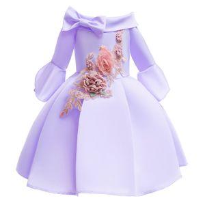 New Designer Baby girl dress mezza manica spalla senza maniche Tutu Kids Princess dress primavera autunno ricamato gonna lunga