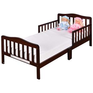 Costzon Criança Bed, Madeira Crianças bedframe clássico crianças dormindo Quarto Móveis w Rail / Segurança Fence (Cherry)