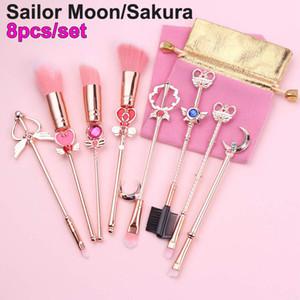 8 stücke Make-Up Pinsel Set Sailor Moon Magische Sakura Nette Kosmetik Pinsel Augenbrauen Gesichtspuder Foundation Blending Erröten Concealer Pinsel