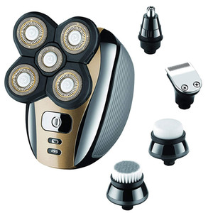 Máquina de Barbear cabeça de barbear para homens calvos, Grooming Kit 5 em 1 Shavers USB impermeáveis nariz cabelo aparador de barba Clippers Facial escova de limpeza